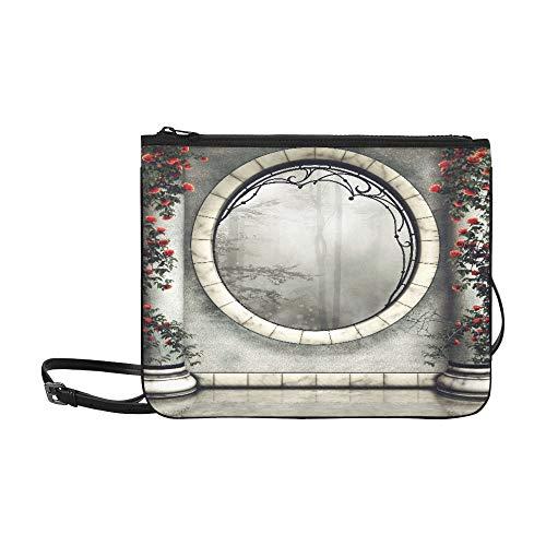 Umhängetaschen für Kinder Gotische Fenster- und Marmorsäulen mit Rosen Verstellbarer Schultergurt Komfort Umhängetasche für Frauen Mädchen Damen Clutch Bag Beste Handtasche