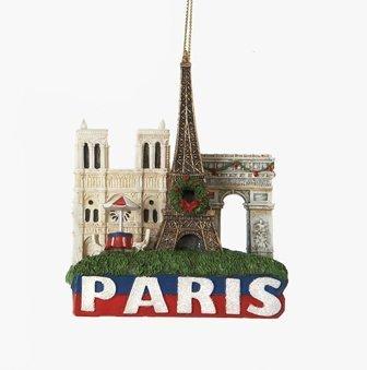 City-Souvenirs Paris Landmarks Christmas Ornament with Eiffel Tower, Arc de Triomphe and Notre Dame