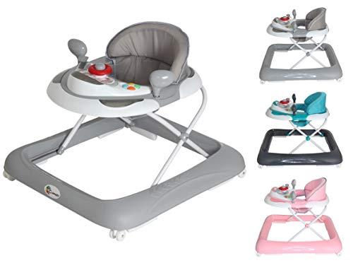 Clamaro \'BABYRACER\' Baby Gehfrei (grau) - Höhenverstellbare Lauflernhilfe mit extra hoher Rückenlehne und bequemen Polstern, extra Spielcenter mit Musik