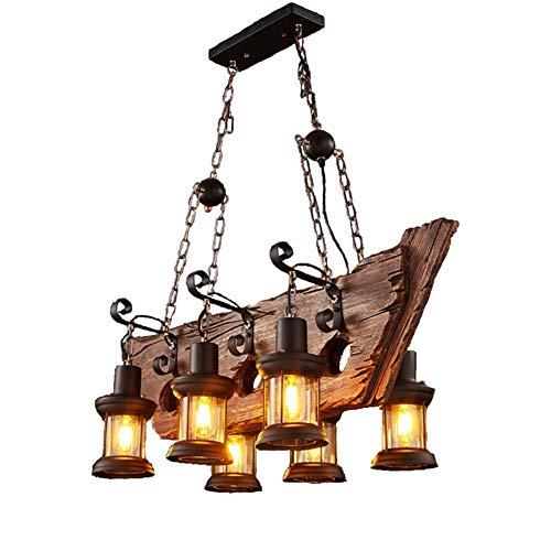 Industria retro Candelabro de madera maciza Barco Lámpara de techo creativa de madera E27 Cocina Edison Hierro Tablero de queroseno Accesorios de luz Negro 6 cabezas Pantalla de cristal