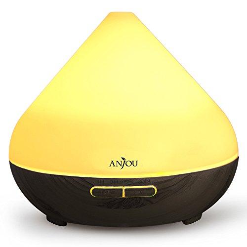 Anjou 加湿器 卓上 アロマディフューザー 超音波式 加湿器 300ml 7色ライト 空焚き防止 1時間/3時間/6時間のタイマー設定 8時間連続使用 ミスト調整 AJ-AD001 (ダークブラウン)