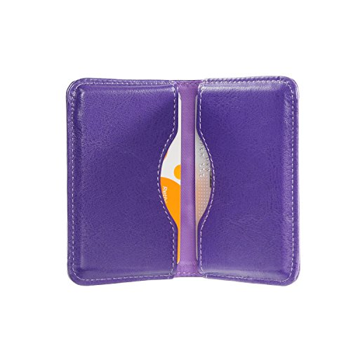Business Card Holder, Wisdompro 2-Sided PU Leather Folio Name Card Holder Wallet Case with Magnetic Shut for Men and Women, Ultra Slim and Thin - Purple