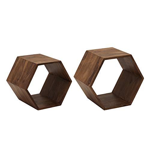 Riess Ambiente Massives 2er Set Cubes Hexagon Sheesham Stone Finish Beistelltische offen Regal Holzregale