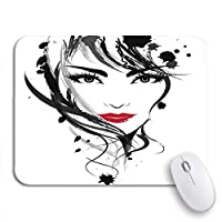NINEHASA 可愛いマウスパッド ノートパソコン、マウスマットのための美容ノンスリップラバーバッキングマウスパッド上の美しい女性の顔のメイクの赤い要約