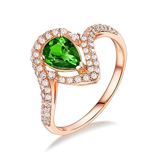 AnazoZ Anillos Mujer TsavoritaAnillo de Oro Rosa 18 Kilates Oro Rosa Verde Gota de Agua Tsavorita Verde 0.58ct Diamante 0.35ct Talla 15