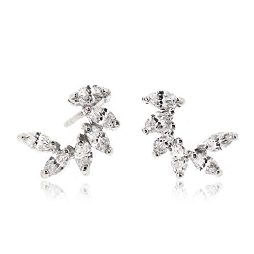 Sovats Marquise Shape Stud Earrings For Women Set With White Cubic Zirconia 925 Sterling Silver Rhodium Plated - Simple, Stylish Stud Earrings&Trendy Nickel Free Earring