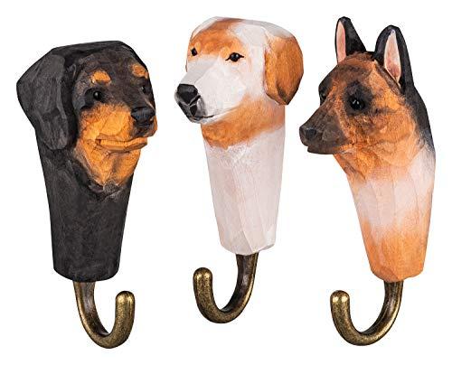 3 Colgadores de Pared Ganchos de Madera para Ropa, Perros, hechos a mano, con Ganchos de Metal