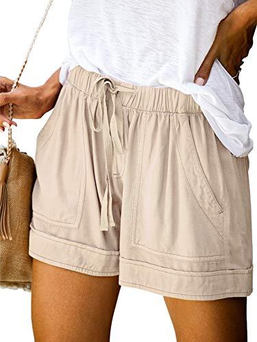 Runcati Womens Loose Fit Comfy Shorts Drawstring Casual Elastic Waist Cotton Beach Summer with Pockets (Large Khaki