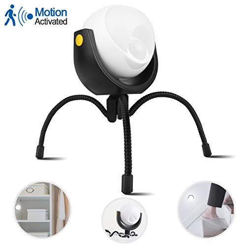 Luces con sensor de movimiento de 360 grados, luz nocturna con trípode multifunción para iluminación exterior, funciona con pilas + garras flexibles + base magnética, se puede pegar en cualquier lugar