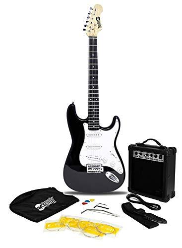 RockJam 6 ST Style Electric Guitar Super Pack with Amp, Gig Bag, Strings, Strap, Picks, Right, Black (RJEG02-SK-BK)
