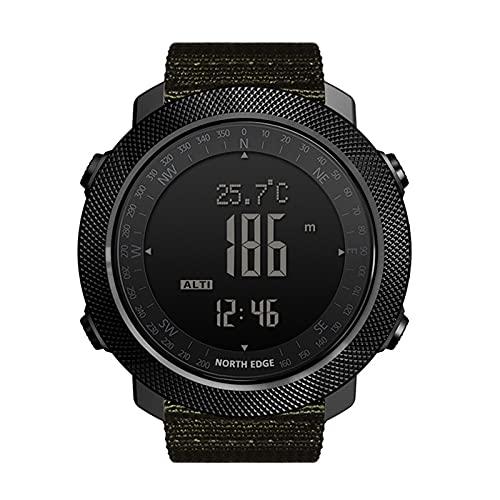 QZH Reloj Deportivo para Hombres, Niños Niñas Reloj Digital para Exteriores Reloj Estilo Táctico para Hombres 5ATM Natación Impermeable Fitness Luz Fondo Rastreador Relojes Deportivos Pulsera,Verde