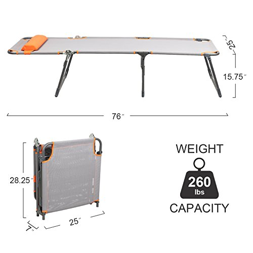 PORTAL Adjustable Folding Reclining Lounger Beach Bed Cot, Grey, Set Up Size:...
