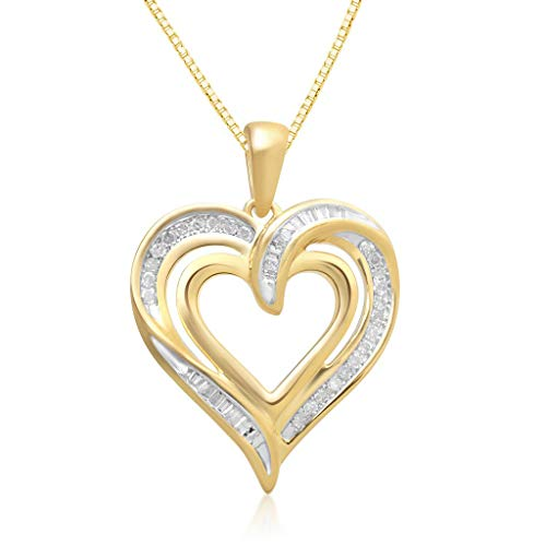 Jewelili 14K Yellow Gold over Sterling Silver 1/4Cttw Natural White Round and Tapper Baguette Diamond Heart Pendant Necklace, 18