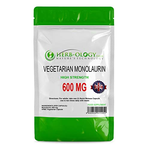 Monolaurin 600mg per Vegetarian Capsule | Aids Immune System & Antibacterial Health | Non-GMO & Made in The UK | No Artificial Ingredients (360)