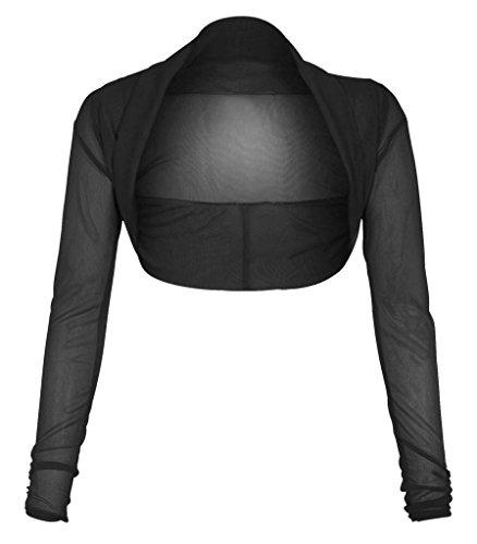 Ladies Plus Size Cropped Long Sleeve Bolero Shrug Sheer Mesh Cardigan Black