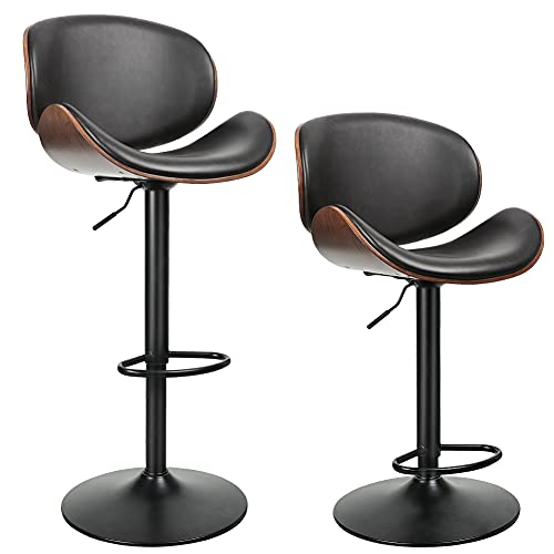 ONME Bar Stools Set of 2, Bentwood Adjustable Height Swivel Bar Stools, PU Leather Upholstered Bar Chair with Backless and Curved Footrest Dining Chair for Bar, Kitchen, Dining Room