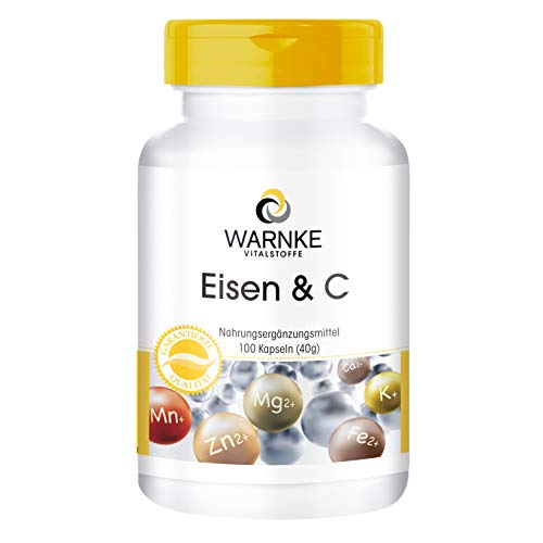 Hierro + Vitamina C, Con B12 y Biotina – 14mg de Hierro elemental – Con Vitamina C para una mejor absorción del hierro – 100 cápsulas
