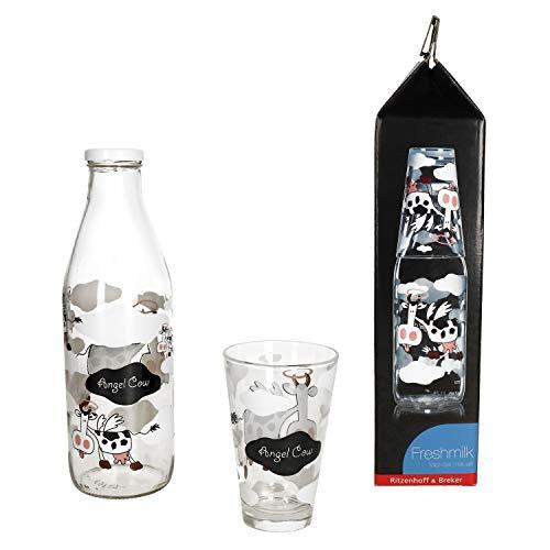 MamboCat Milchflaschen Set Angel Cow I Flirt Milchglasflasche 1 Liter mit Schraubverschluss und 310 ml Trinkglas mit Motiv I Designer Weithalsflasche Trinkflasche I Leere Flasche zum Befüllen 1000ml