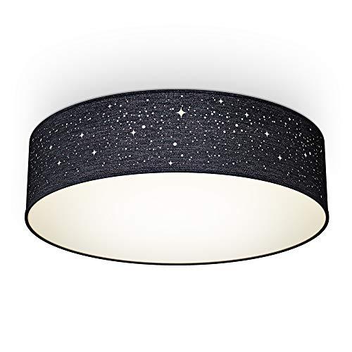 B.K.Licht I Textil-Sternenhimmel I Schwarz I Ø38cm I 2-flammig E27 I Stoffdeckenleuchte rund I Schlafzimmerlampe I Textilschirm I ohne Leuchtmittel