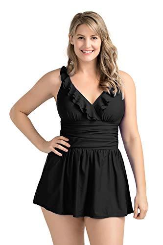 PERONA Women Plus Size Swimwear One Piece Swimdress Tummy Control Swimsuit Printed Skirt Bathing Suits
