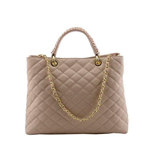 Dream Leather Bags Made in Italy toskanische echte Ledertaschen Echtes Leder Gestepptes Handtasche Farbe Rosa Champagne - Italienische Lederwaren - Damentasche