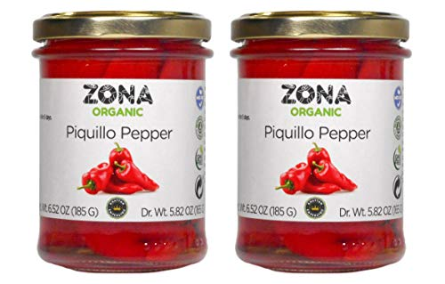 Zona Organic Spanish Fire Roasted Piquillo Peppers, 6.5 oz (Pack of 2)