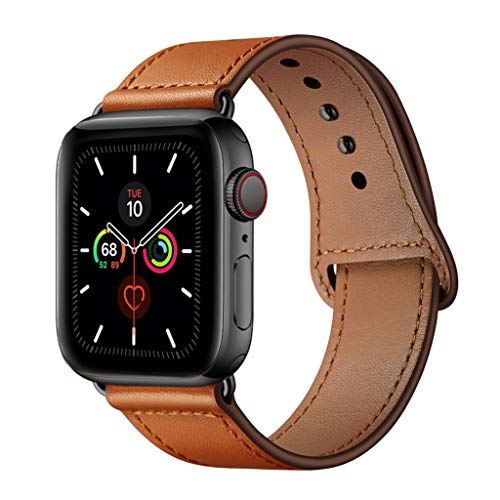 YALOCEA Compatible with Apple Watch Band 42mm 44mm, Genuine Leather Band Replacement Strap Compatible with iWatch Series 5 4 3 2 1 44mm 42mm, Brown