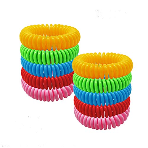 Mosquito Bracelets 10pcs, 100% All Natural Plant-Based Oil Mosquito Bands, Travel Insect Bracelet, Soft Material for Kids & Adults, Keeps Insects & Bugs Away