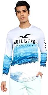 Hollister Ocean Print Logo Graphic T-shirt light blue for men(S)