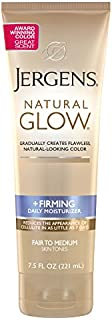 Jergens Natural Glow +FIRMING Self Tanner, Sunless Tanning Lotion for Fair to Medium Skin Tone, 7.5 Ounce, Anti Cellulite Firming Body Lotion for Natural-Looking Tan, Fresh