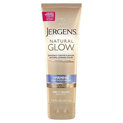 Jergens Natural Glow + Firming Body Lotion, Self Tanner, Fair to Medium Skin Tone, 7.5 Ounce Sunless Tanning Daily Moisturizer with Collagen and Elastin. Helps to Visibly Reduce Cellulite