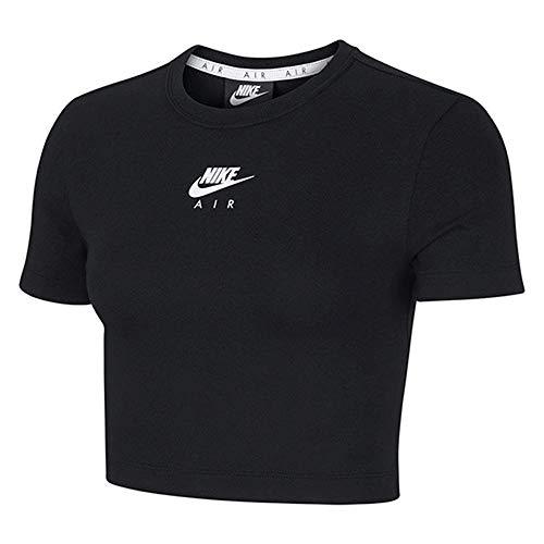 Nike Air Crop Top para mujer, color negro, blanco y blanco negro y blanco M