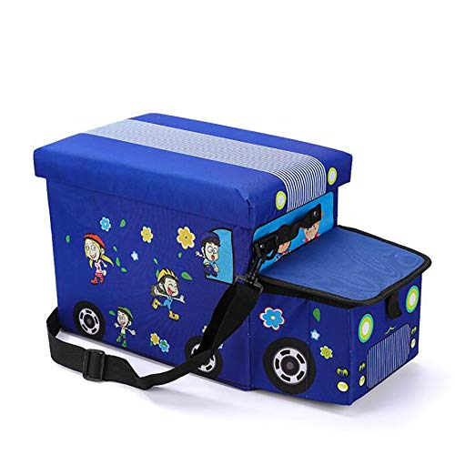 GAOXIAOMEI Taburete De Almacenamiento para Niños Taburete Creativo para Coche Taburete De Almacenamiento De Tela Oxford Caja De Almacenamiento De Juguete Plegable 55 * 25 * 30CM,Azul