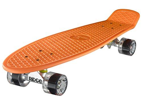 Ridge Skateboards 27 Inch Big Brother Retro Mini Cruiser Nickel Skateboard - UK Vervaardigd - oranje, klar