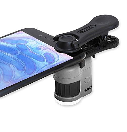 Carson MicroMini leistungsstarkes Taschenmikroskop mit 20-facher Vergrößerung, LED/UV-Beleuchtungsfunktion und Taschenlampe sowie praktischem Clip zur Befestigung an einem Smartphone