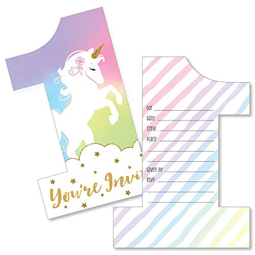 Magical Unicorn First Birthday Party Invitations