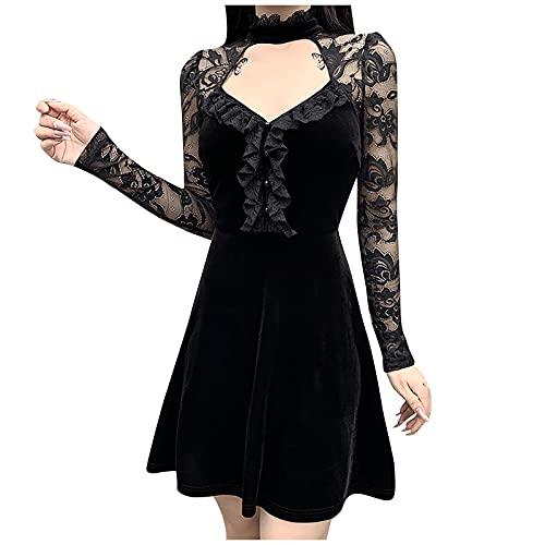 Kleid Damen, Kleid Damen Elegant, Kleider Damen Festlich, Frauen Gothic Kleid Langarm Aushöhlen Spitze Patchwork Punk Abendkleid