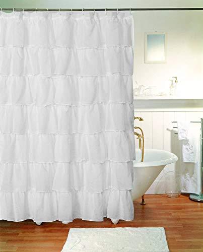 "Decotex 1 Piece Gypsy Ruffle Crushed Sheer Voile Shabby Chic Bathroom Fabric Shower Curtain Panel (70"" X 72"", White)"