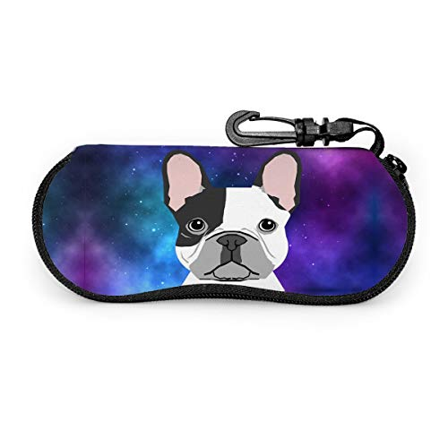 Foruidea French Bulldog Sunglasses Case Ultra Light Weight Portable Versatile Neoprene Zipper Eyeglass Soft Case for Womens/Mens/Gils/Boys