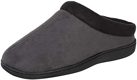 Hanes Men s Memory Foam Indoor Outdoor Microsuede Clog Slipper Shoe with Fresh IQ Grey Large product image
