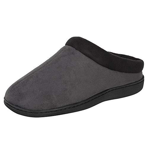 Hanes Men's Memory Foam Indoor Outdoor Microsuede Clog Slipper Shoe with Fresh IQ, Grey, Large