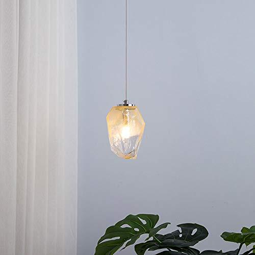 Colgante de cristal ligero forma geométrica de forma amarilla lámpara suspensión araña lámpara de iluminación, lámpara de techo colgante del dormitorio del norte de Europa para el pasillo del restaura