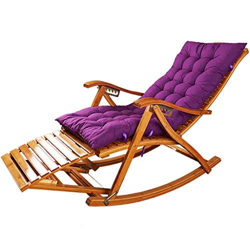 Chaise berçante Fauteuil à bascule pour jardin ou terrasse en bois massif naturel Dossier incurvé confortable Idéal pour une utilisation en extérieur ou en intérieur