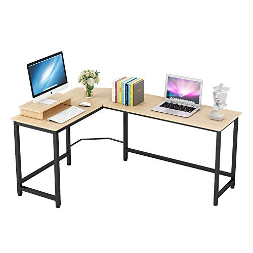 Home Office Computer Desk L Shaped Corner Workstation Table Sturdy Wooden Top Metal Frame Modern Design for Study Gaming Working (Teak)
