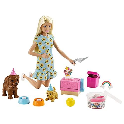 Barbie Fiesta de perritos de cumpleaños Muñeca rubia con mascotas de juguete y juego de plastilina (Mattel GXV75)
