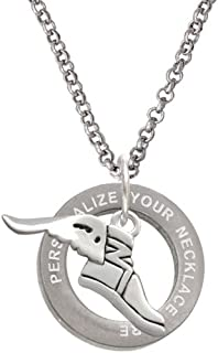 Cheer Bunny Winged Shoe - Mascot Custom Engraved Affirmation Ring Necklace