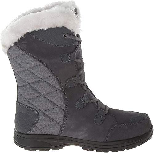 Columbia Women's ICE Maiden II Snow Boot, Shale, Dark Raspberry, 6.5 B US