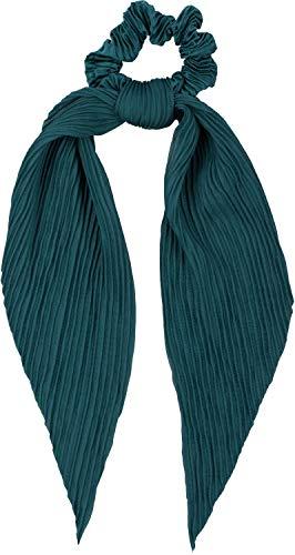 styleBREAKER Dames haarband geplooid met strik in retro stijl, elastiek, scrunchie, vlechtelastiek, haarband 04027014, Farbe:Petrol