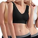 Libella Sujetador Deportivo sin Costuras de 3 Piezas Sujetador de Yoga con Almohadillas Removibles para Mujeres Ultra-Lift de Komfort- BH Negro Beige Blanco 3747 L/XL