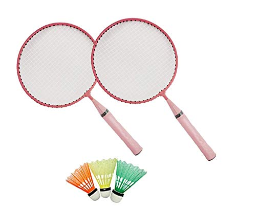 BOSS SPOCCO® Badminton Racket for Kids - Baby Badminton Aluminium Toy Set for Children with Multicolored Shuttlecocks